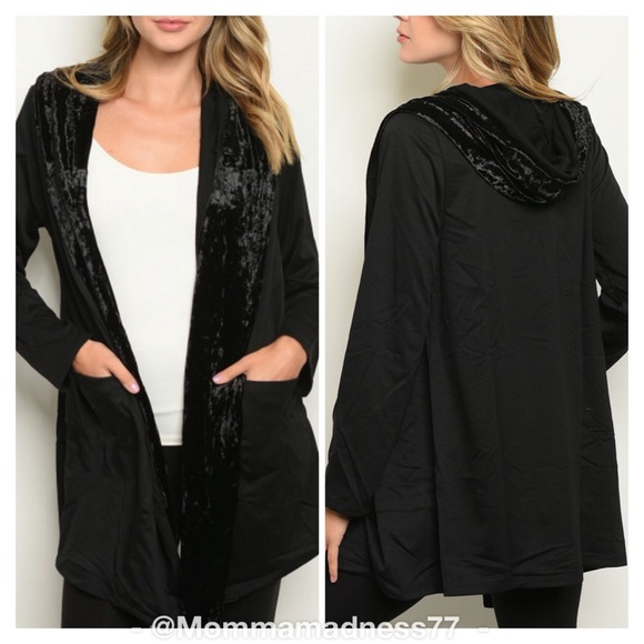 Sweaters - 🆕🍁🍂BLACK HOODED OPEN FRONT CARDIGAN 💛🧡